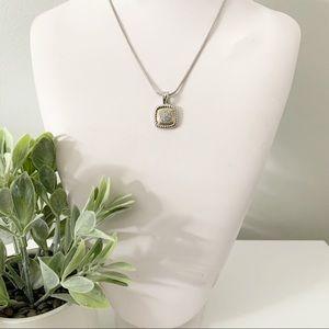 CHARTER CLUB Pave SilverGold Tone Pendant Necklace